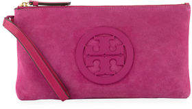 Tory Burch Charlie Suede Logo Clutch Bag - SYMPHONY BLUE - STYLE