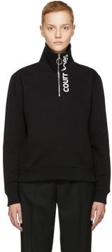 Courreges Black Logo Zip Neck Sweatshirt