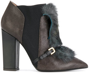Pollini faux fur trim ankle boots