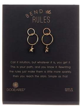Dogeared 'Bend the Rules' Double Ring Dangling Star Drop Earrings