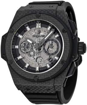 Hublot King Power Unico Skeleton Dial Automatic Carbon Fiber Rubber Men's Watch