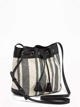 Striped Bucket Bag for Women