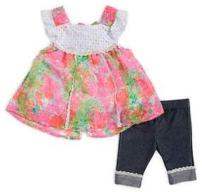 Little Lass Baby Girl's Two-Piece Floral Tank and Lace-Trimmed Leggings Set