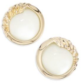 Alexis Bittar Lucite Crystal Studded Sculptural Sphere Clip-On Earrings