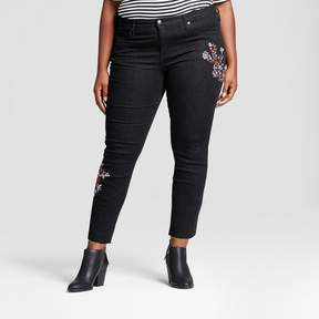 Ava & Viv Women's Plus Size Embroidered Skinny Jeans Black