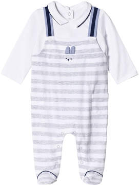 Mayoral Grey Stripe Dungaree Effect Babygrow