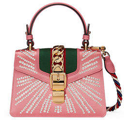 Gucci Sylvie Mini Embellished Satin Top-Handle Satchel Bag - BLACK - STYLE