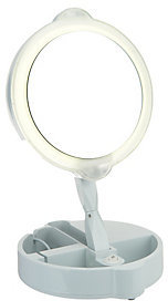 Floxite 9X/1X Lighted Adjustable Vanity Mirror w/ Storage