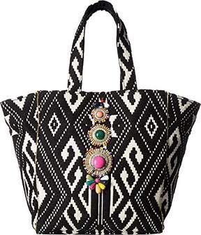 Steve Madden Zena Tribal Geometric Multi Colored Bohemian Fabric Tote Shoulder Beach Handbag