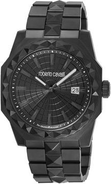 Roberto Cavalli Men's Quartz Buckled Stainless Steel Watch, 43mm