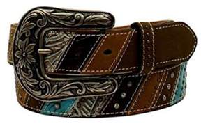 Ariat A1524002-S 1.5 in. Womens Southwestern Theme Striped & Studded Belt, Brown - Small