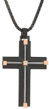 Lynx Men's Black Ion Plated Stainless Steel Cable Cross Pendant