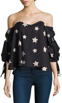 Caroline Constas Gabriella Star-Print Off-The-Shoulder Top
