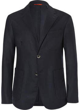 Barena Blue Slim-Fit Stretch-Wool Flannel Blazer