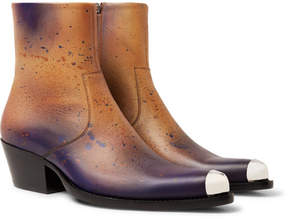 Calvin Klein Metal-Tipped Paint-Splattered Burnished-Leather Boots
