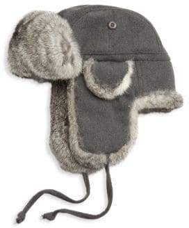 Saks Fifth Avenue COLLECTION Rabbit Fur Aviator Hat