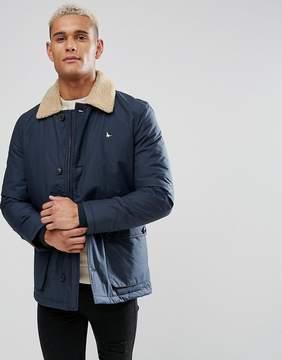 Jack Wills Bridgetown Fleece Collar Down Jacket In Navy