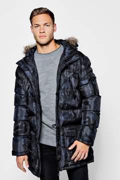 boohoo Camo Padded Parka With Faux Fur Hood