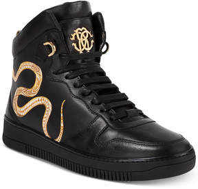 Roberto Cavalli Men's Leather Gold Hightop Sneakers Men's Shoes