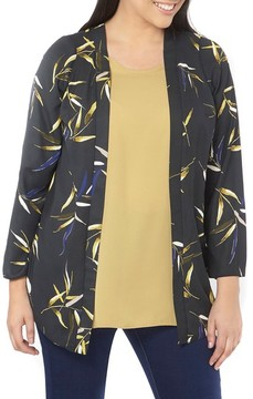 Evans Plus Size Women's Foiled Leaf Print Kimono Jacket