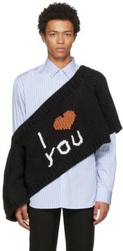 Raf Simons Black I Love You Blow Up Raglan Sweater