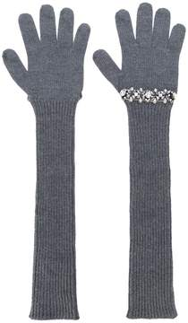 No.21 sequinned ribbed gloves