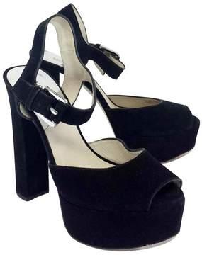 Michael Kors Black Suede 'Trish' Ankle Strap Platforms