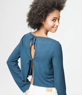 Aeropostale Long Sleeve Ribbed Tie-Back Top