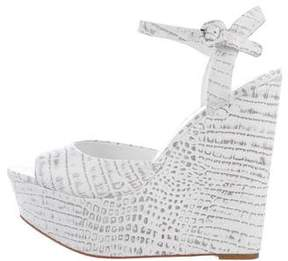 Alice + Olivia Embossed Leather Wedged Sandals