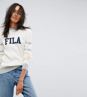 Fila Tall Ribbed Sweater With Contrast Stripe And Logo Detail
