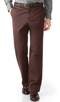 Charles Tyrwhitt Brown Classic Fit Flat Front Cotton Chino Pants Size W30 L38