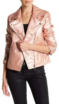 Bagatelle Metallic Faux Leather Moto Jacket