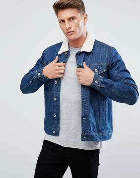 Esprit Denim Jacket With Fleece Collar