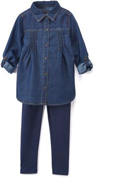 U.S. Polo Assn. Medium Wash Button-Up & Leggings - Infant, Toddler & Girls