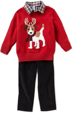 Class Club Little Boys 2T-7 Christmas Antler Dog Sweater, Button-Down Shirt, & Pants 3-Piece Set
