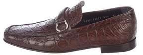 Salvatore Ferragamo Crocodile Gancini Loafers