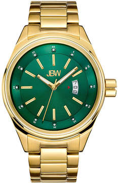 JBW Mens Gold Tone And Green Diamond Accent Bracelet Watch