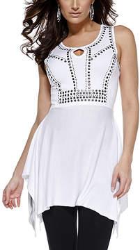 Belldini White Embellished Sidetail Tunic - Women