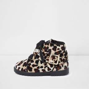 River Island Mini girls brown leopard velvet boots