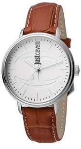 Just Cavalli Mens Brown Leather Strap Watch With White Dial.