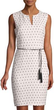 Karl Lagerfeld Paris Sleeveless Polka-Dot Jacquard Dress