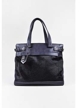 Reed Krakoff Pre-owned Purple & Black Leather & Calf Hair Top Handle editor I Tote.