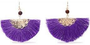 Kenneth Jay Lane Gold-Tone Fringed Cord And Bead Earrings