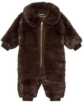 Mini Rodini Brown Faux Fur Baby Jumpsuit