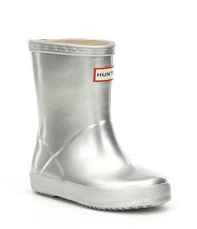 Hunter Girls' First Classic Metallic Waterproof Rain Boots