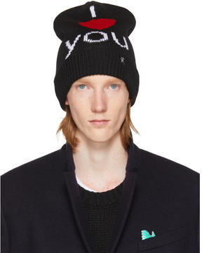 Raf Simons Black I Love You Beanie