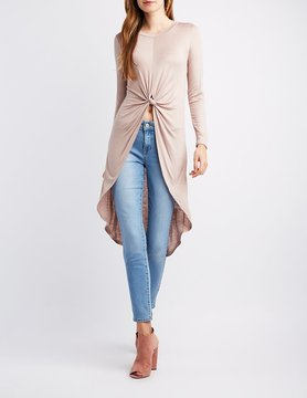 Charlotte Russe Long Sleeve High-Low Tunic