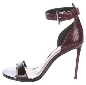 Barbara Bui Snakeskin Ankle Strap Sandals