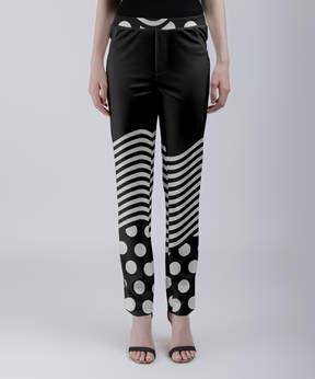 Lily Black & White Polka Dot Wavy Stripe Lounge Pants - Women & Plus