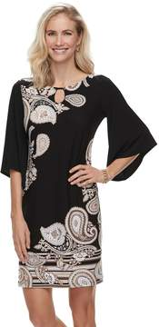 Dana Buchman Women's Paisley Bell-Sleeve Shift Dress